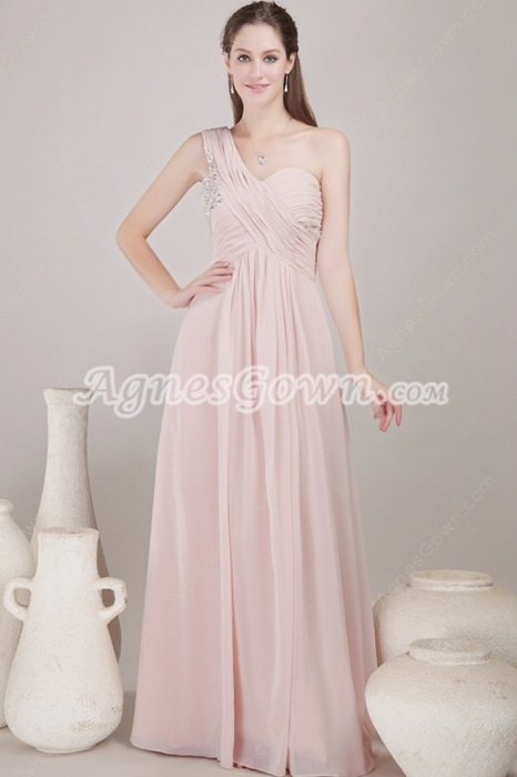 Noble One Shoulder Column Pink Chiffon Junior Prom Dress With Beads