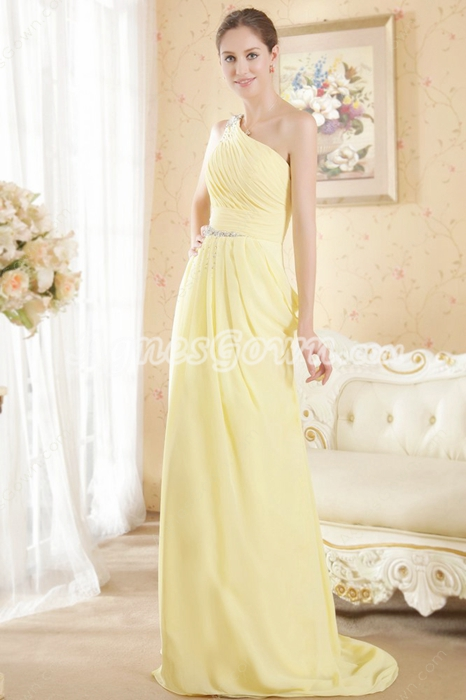 One Shoulder A-line Yellow Chiffon Junior Prom Dress