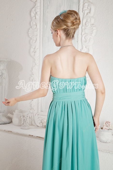 Sassy Column Full Length Jade Green Bridesmaid Dress