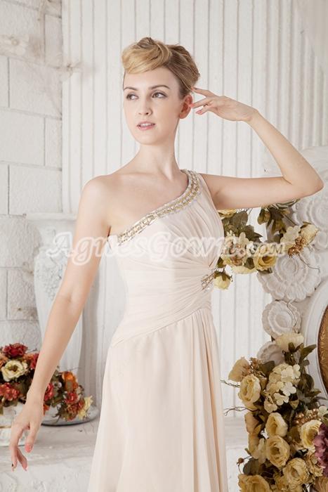 Delicate One Shoulder Champagne Chiffon Bridesmaid Dress