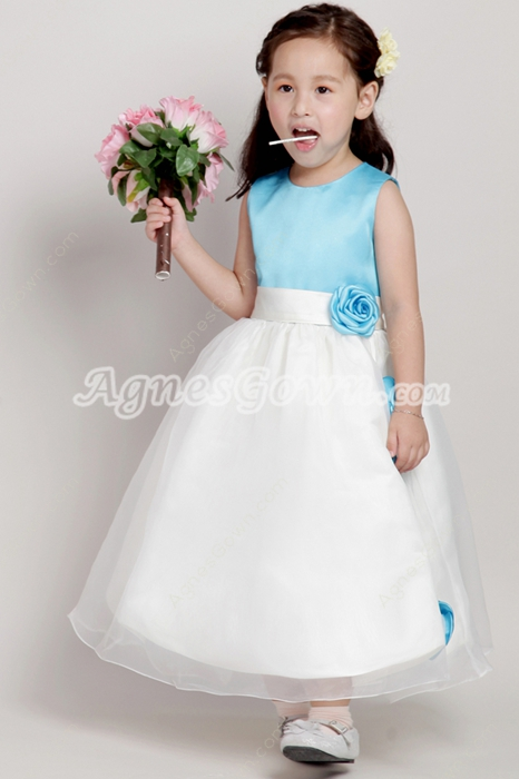 Best Blue & White Flower Girl Dresses With Handmade Flowers