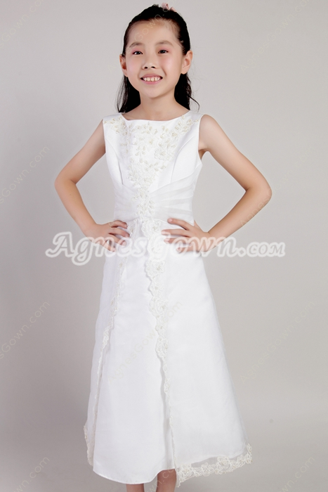 Jewel Neckline Ankle Length Flower Girl Dress With Pearls