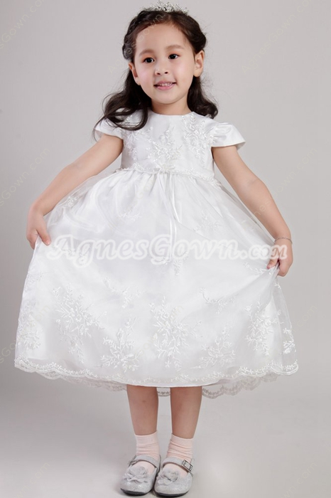 Cute Short Sleeves Tea Length Infant Lace Flower Girl Dress