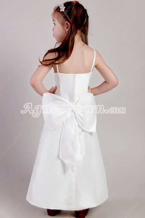 Ankle Length Spaghetti Straps White Girls Pageant Dress