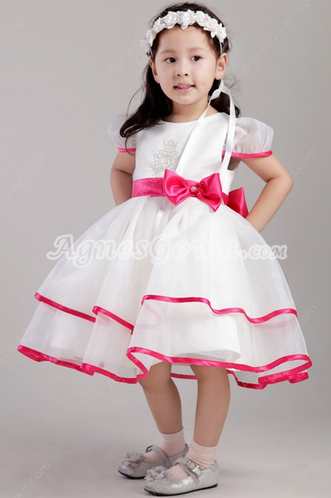 Fuchsia And White Toddler Flower Girl Dress