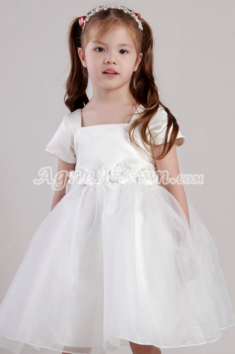 Adorable Knee Length Infant Flower Girl Dress Short Sleeves