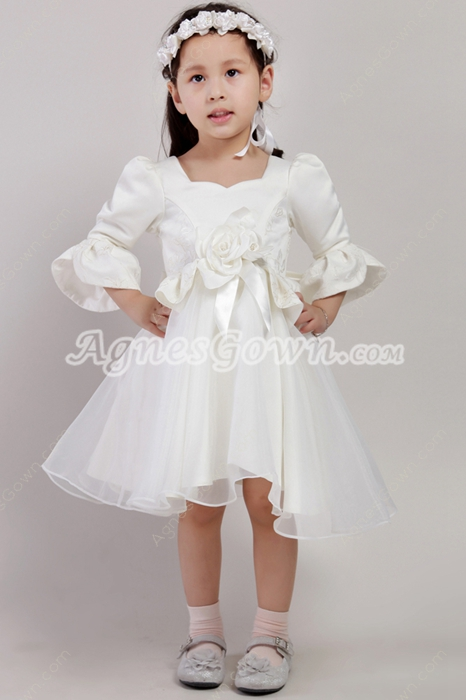Modest 3/4 Sleeves Puffy Knee Length Flower Girl Dresses