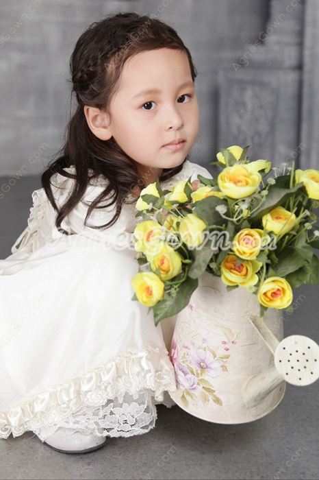 Classical Ivory Short Sleeves Flower Girl Dresses for Toddlers
