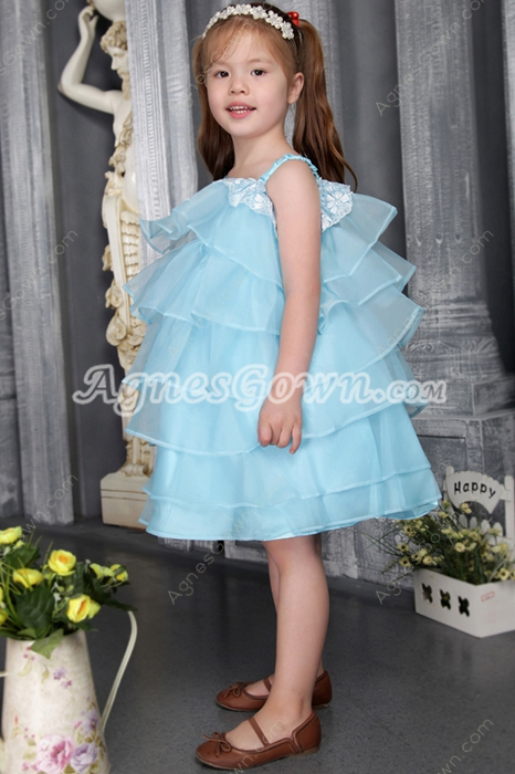 Puffy Knee Length Blue Infant Toddler Flower Girl Dresses