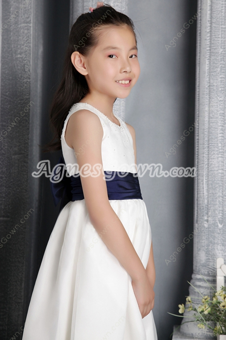 Scoop Neckline Ankle Length Little Girls Pageant Dress With Dark Navy Sash