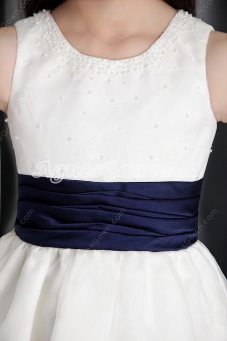 Scoop Neckline Ankle Length Little Girls Pageant Dress With Dark Navy Sash