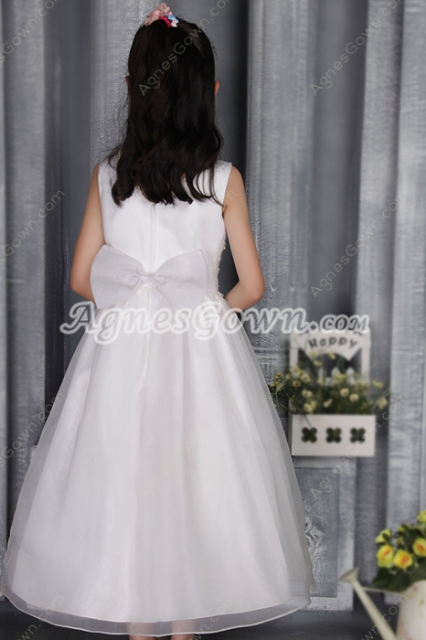 Scoop Neckline Organza Tea Length Flower Girl Dress With Pearls