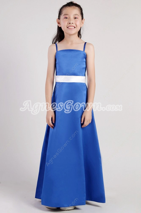 Spaghetti Straps Royal Blue Little Girls Pageant Dress With White Sash