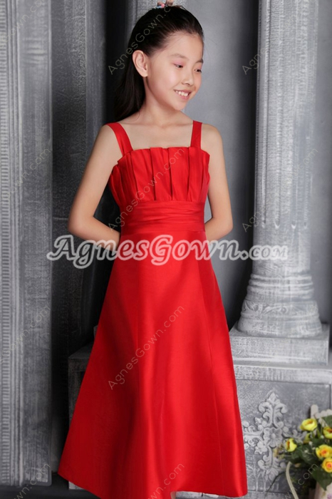Tea Length Red Satin Girls Party Dress