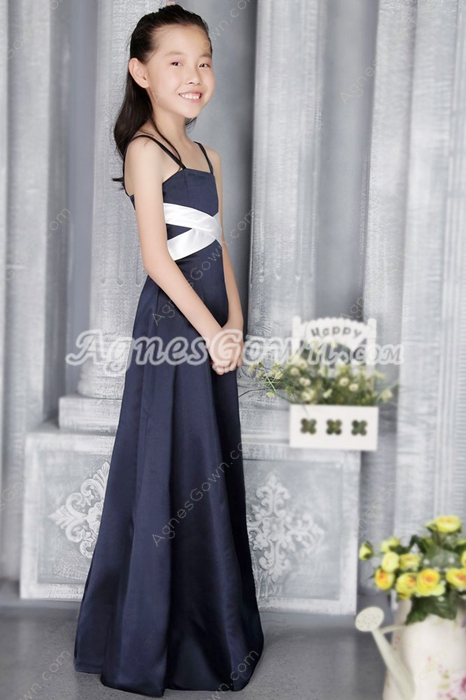 Spaghetti Straps Dark Navy And White Satin Flower Girl Dress