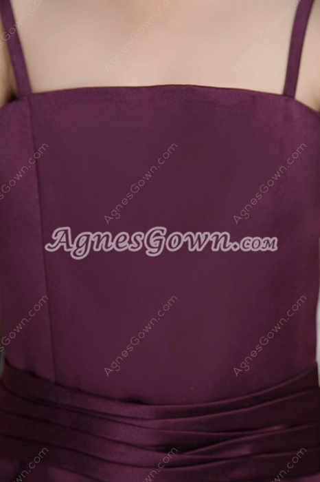 Grape Satin A-line Little Girls Party Dress With Sash