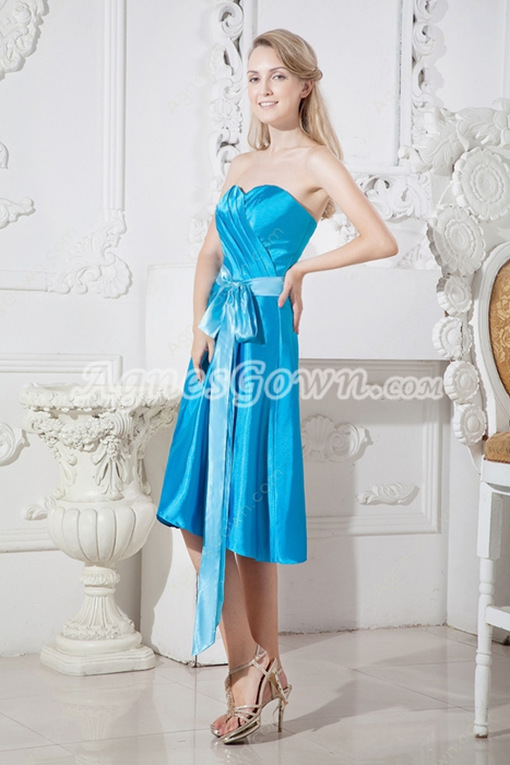 Knee Length Turquoise Wedding Guest Dress With Sash