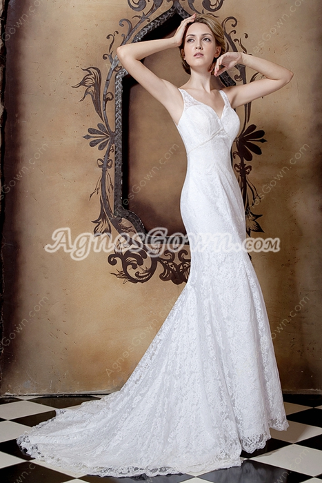 Breathtaking V-Neckline Mermaid/Fishtail Lace Wedding Dress