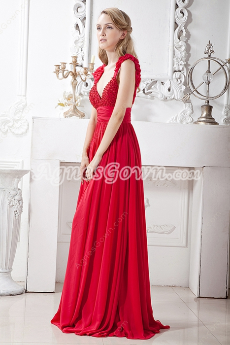 Backless Red Chiffon Prom Party Dress For Juniors