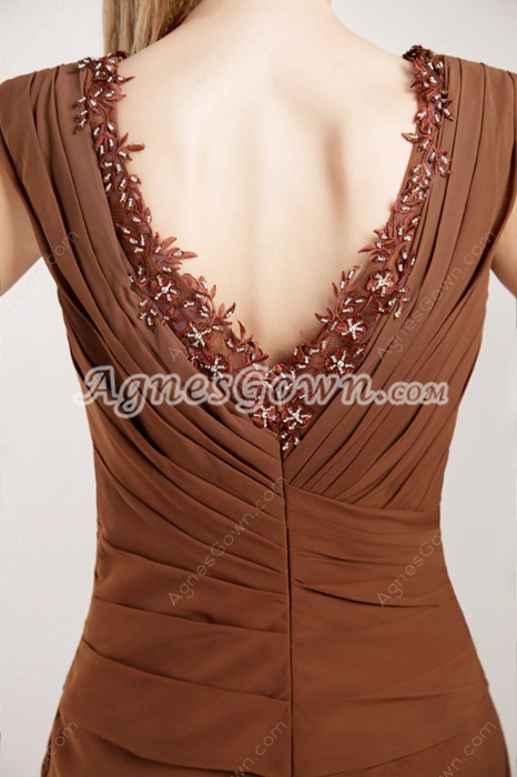 V-Neckline Brown Chiffon Prom Party Dress V-Back