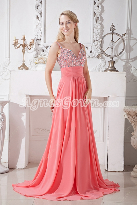 Beautiful Spaghetti Straps Watermelon Chiffon Prom Party Dress With Beads
