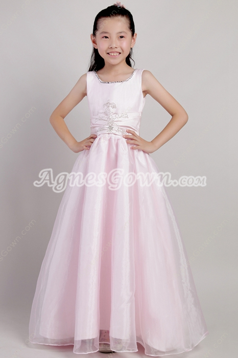 Puffy Floor Length Pearl Pink Organza Girls Pageant Dress