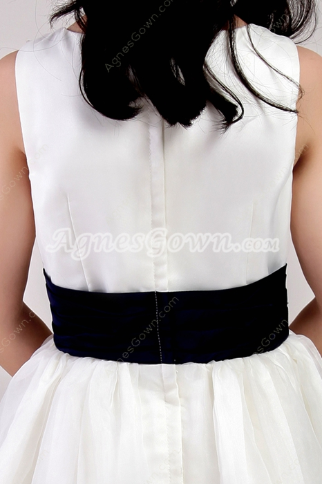 Square Neckline White Organza Flower Girl Dress With Royal Blue Sash