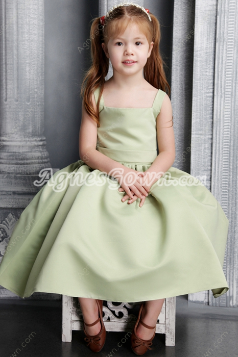 Sweet Tea Length Sage Satin Little Princess Dress