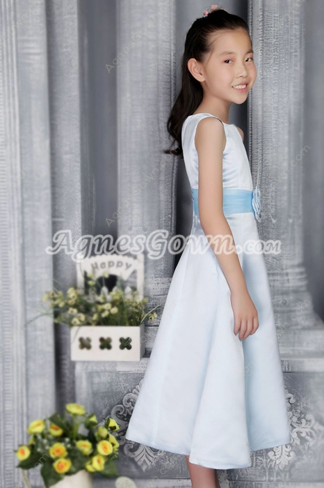 Jewel Neckline Tea Length Light Sky Blue Little Girls Pageant Dress
