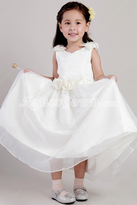 Romantic Sleeveless Ivory Puffy Ankle Length Little Girls Pageant Dresses