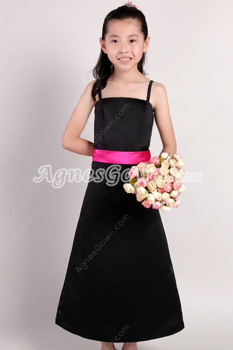 Black And Fuchsia Little Gilrs Pageant Dress
