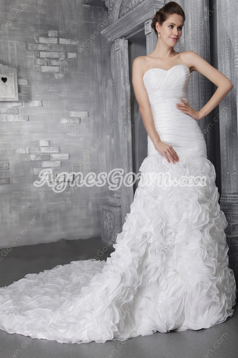 Luxurious Mermaid Full Length 2016 Wedding Gowns With Heavy Ruffles