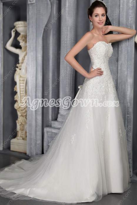 2016 Ivory Lace Princess Wedding Dresses With Appliques