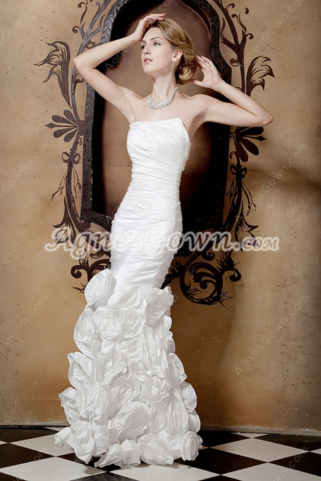 Special Mermaid Wedding Dress With Handmade Flowers