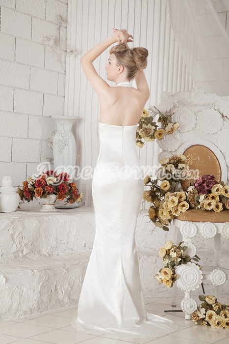Top Halter Sheath Satin Simple Wedding Dress