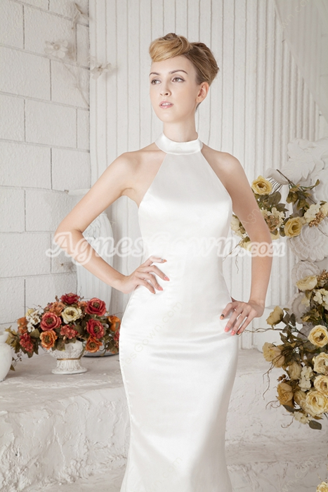 Top Halter Sheath Satin Simple Wedding Dress