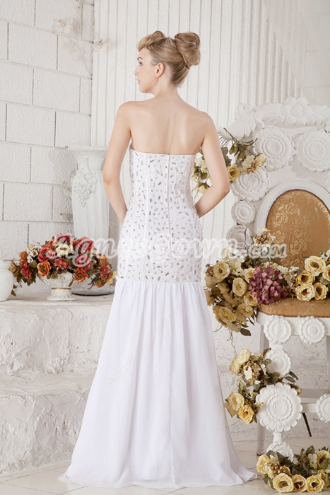 Luxurious Sheath Full Length Beaded Wedding Dress 2016