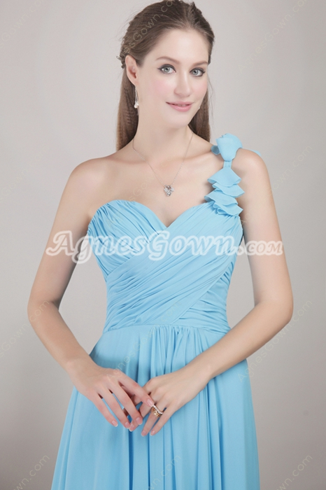Pretty One Shoulder Blue Chiffon Marine Ball Dress
