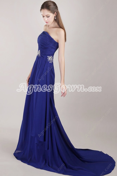 Delicate Chiffon Royal Blue Prom Party Dress