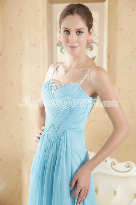 Sassy Spaghetti Straps Blue Chiffon Prom Party Dress