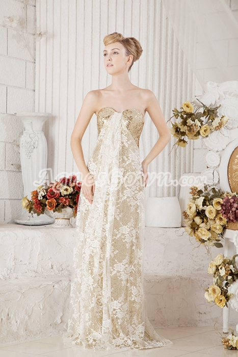Column Full Length Gold Sequined Graduation Dress With Lace