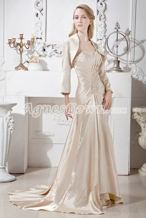 Sweetheart Neckline Champagne Mother Of The Bride Dress With Jacket