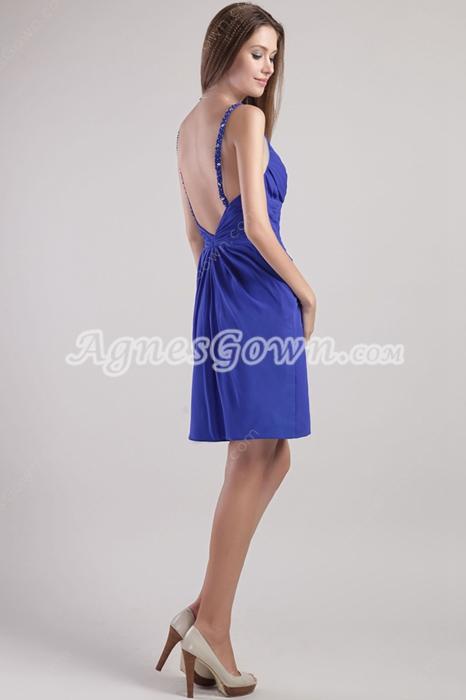 Backless Mini Length Royal Blue Cocktail Dress