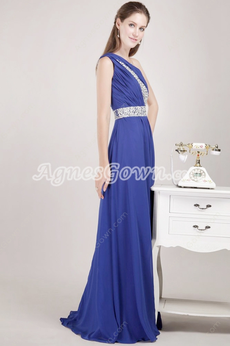 One Shoulder Royal Blue Chiffon Pageant Prom Dress