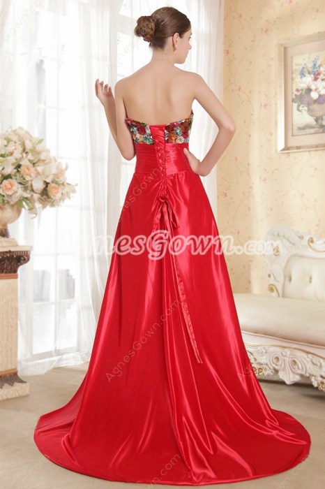 Multi-Colored Bust Red Satin Prom Party Dress Corset Back