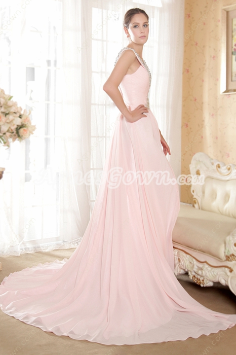 Impressive Pink Chiffon Pageant Evening Dress With Beads