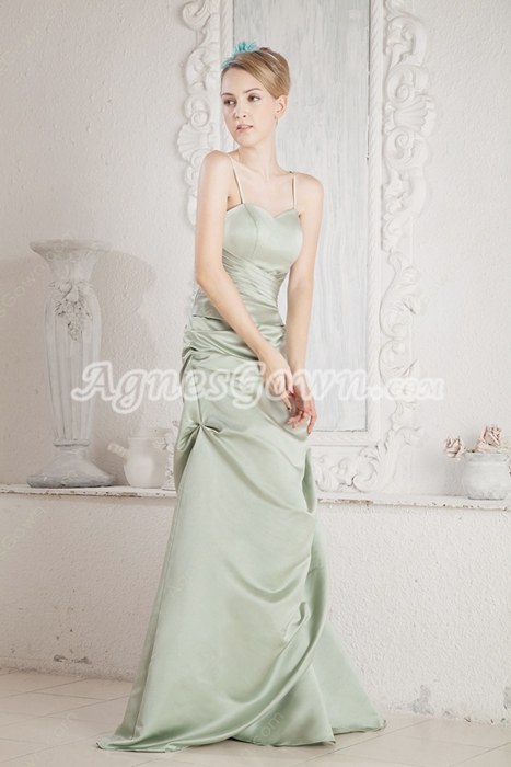 Glamour Sage Satin Prom Party Dress