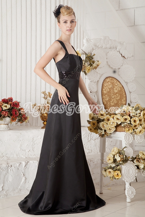 Black Satin College Graduation Dress