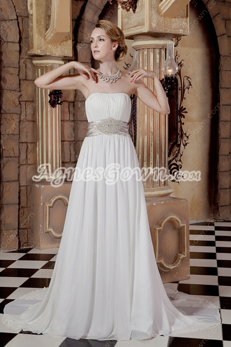 Hawaii Strapless White Chiffon Destination Wedding Dress