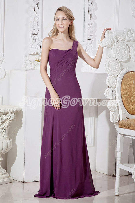 Affordable One Shoulder Grape Colored Chiffon Bridesmaid Dress